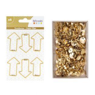 6 Pfeil Büroklammern + 150 goldenen...