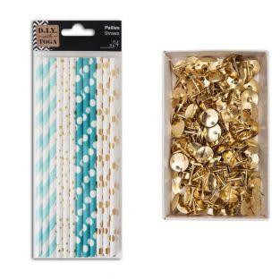 24 blau-goldene Papierstrohhalme +...