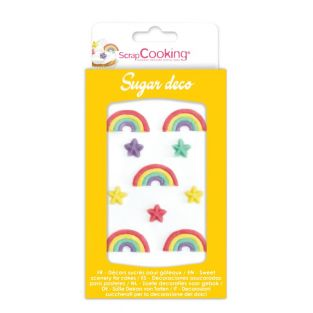 Dulces decoraciones de arco iris