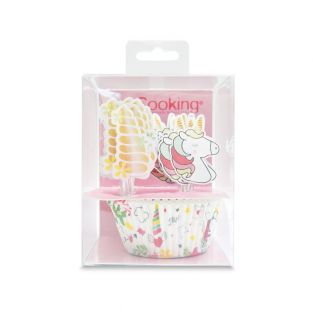 24 caissettes et 24 cake toppers licorne
