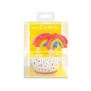 24 rainbow cake boxes + 24 cake toppers