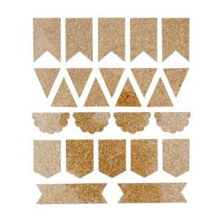 25 Cork Stickers - pennants
