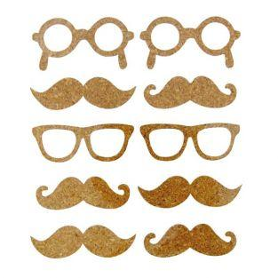10 Cork Stickers - mustache