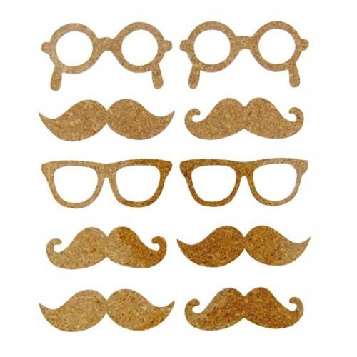 10 Cork Stickers - mustache