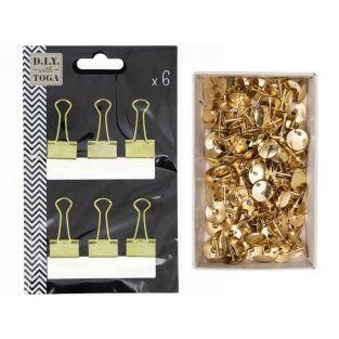 6 pinces à clips papeterie dorées +...