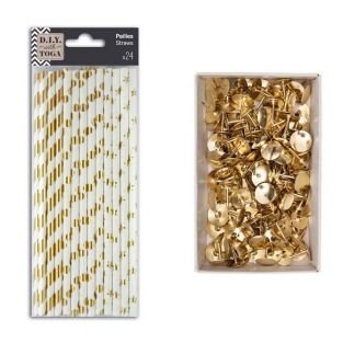 24 goldene und weiße Papierstrohhalme...