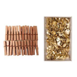 Mini pinces à linge bois cuivrées 3...