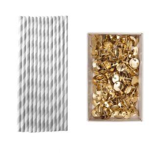 25 silver paper straws 20 cm + 150...