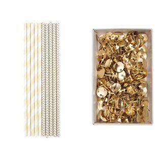 25 beige paper straws + 150 golden...