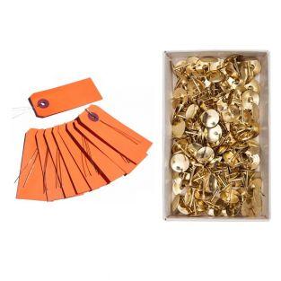 10 orangefarbene Metalldrahtetiketten...
