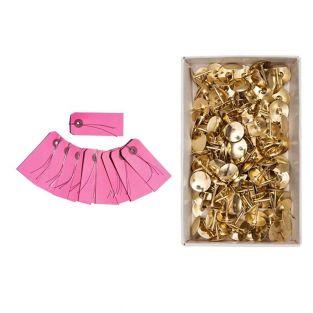 10 rosa Metallfadenetiketten + 150...