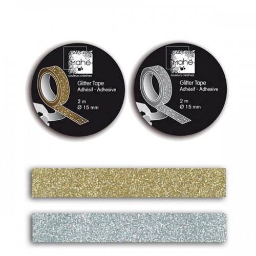 2 Masking tapes à paillettes - argenté & doré