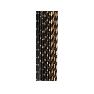 24 pailles noires et dorées