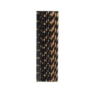 Schwarze und goldene Strohhalme