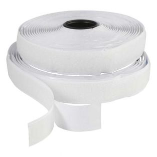White Hook-and-loop tape 5 m x 20 mm