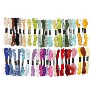 42 fils à broder en coton - couleurs...