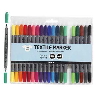20 Feutres textile à double pointe -...