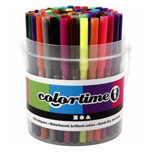 100 marcadores Colortime con sello -...