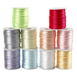 10 Pastel satin cords 2 mm x 50 m