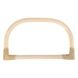 Rounded bamboo bag handle - 15,5 x 9 cm