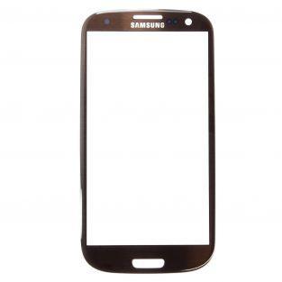 Vitre écran de façade marron + adhésif pour Samsung Galaxy S3 I9300 I9305