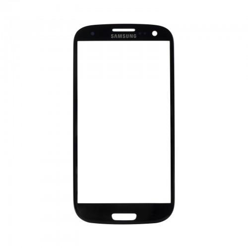Vitre écran de façade noire + adhésif pour Samsung Galaxy S3 I9300 I9305