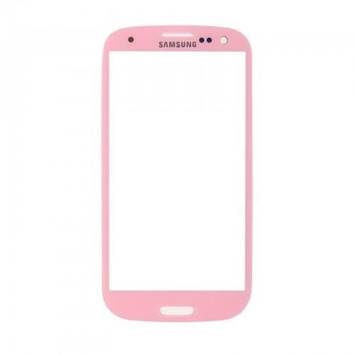 Vitre écran de façade rose + adhésif pour Samsung Galaxy S3 I9300 I9305