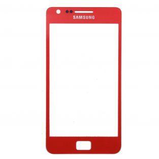 Vitre écran de façade rouge + adhésif pour Samsung Galaxy S2 I9100