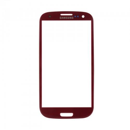 Vitre écran de façade rouge + adhésif pour Samsung Galaxy S3 I9300 I9305