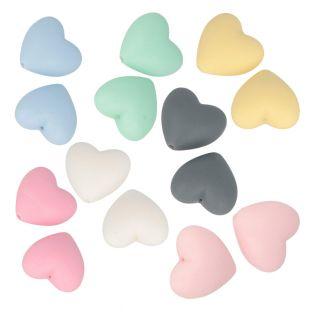 14 Herzsilikonperlen 29 mm - mehrfarbig
