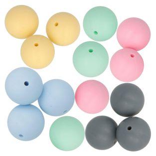 15 perles en silicone rondes 15 mm -...