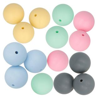 15 round silicone beads 15 mm -...