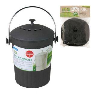 Cubo de compostaje con filtros de carbón