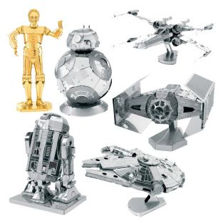 6 modelos metálicos 3D - Star Wars