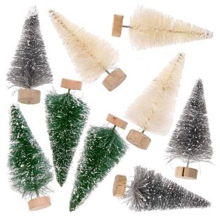 9 small decorative Christmas trees 7...