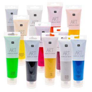 12 tubos de pintura acrílica 100 ml