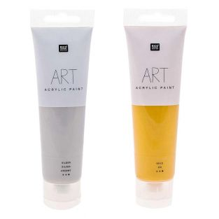 2 Tuben Acrylfarbe 100 ml - Gold-Silber