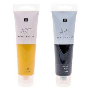 2 Tuben Acrylfarbe 100 ml - schwarz &...