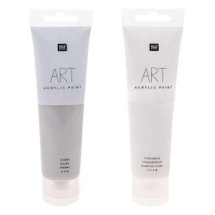 2 Tuben Acrylfarbe 100 ml - weiß &...