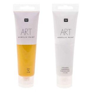2 Tuben Acrylfarbe 100 ml - Weiß & Gold