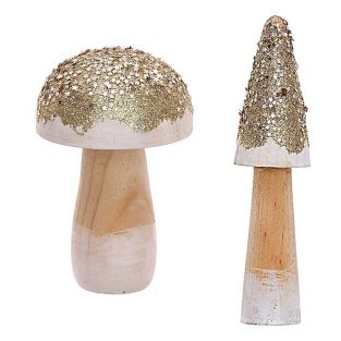 2 champignons décoratifs en bois dorés