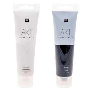 2 Tuben Acrylfarbe 100 ml - Schwarzweiß