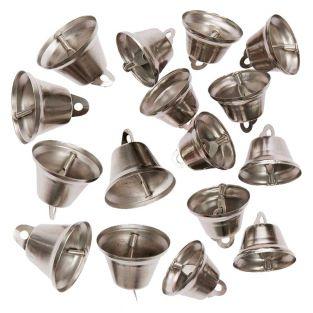 16 campanas pequeñas de metal plateado