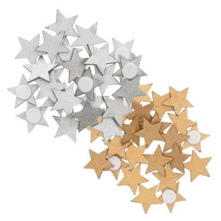 Wooden star stickers - gold-silver