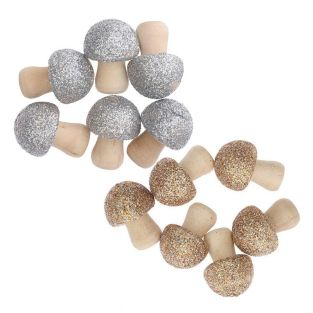 12 small glittery wooden mushrooms -...