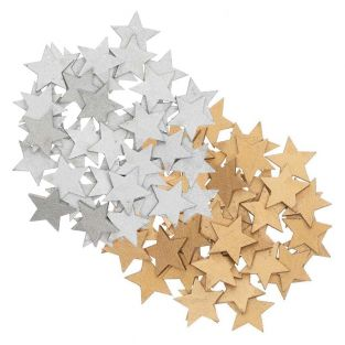 Wooden star confetti - gold-silver