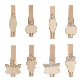 16 pinces double-clip en bois...