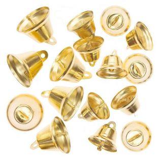 16 small golden metal bells
