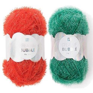2 balls of DIY sponge yarn - green-red