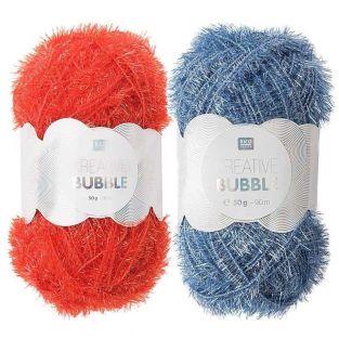 2 balls of DIY sponge yarn - blue-red